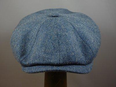 Ballonpet Stetson 'Hatteras' Silk/ Visgraat Blauw