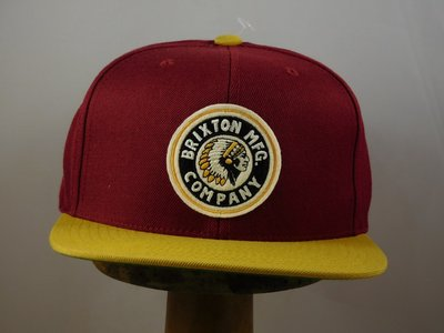 Brixton 'Indian' cap bordo geel