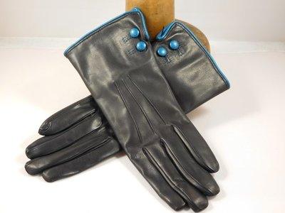 Cardei dameshandschoen knoop en paspel blauw petrol