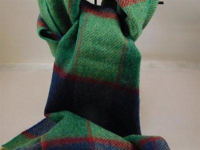 John Hanly Lamswol Geblokt Turkoois blauw rood sjaal 30 x 150